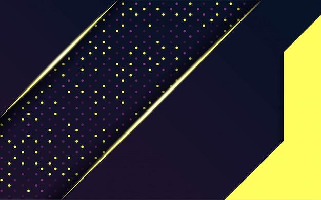 Vettore viola scuro moderno con linea oro e punti.