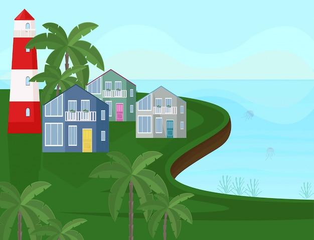 Vettore vista sul litorale mare. mare con sfondi di palme