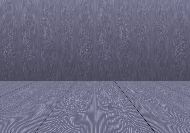 Vettore vuoto del fondo della stanza porpora di legno realistica.