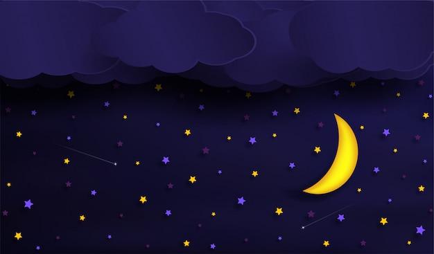 Vettori del cielo durante la notte.
