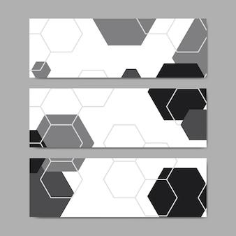 Vettori di banner modello esagono geometrico in bianco e nero impostato