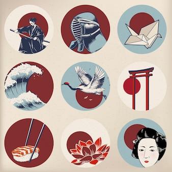 Vettori di stile della tradizione giapponese