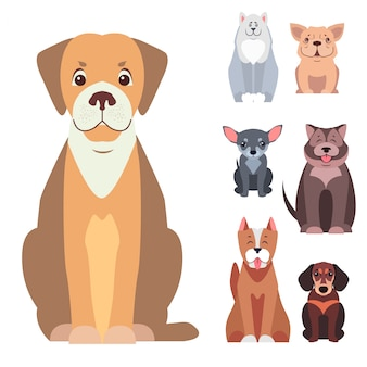 Vettori piani del fumetto sveglio dei cani di razza messi