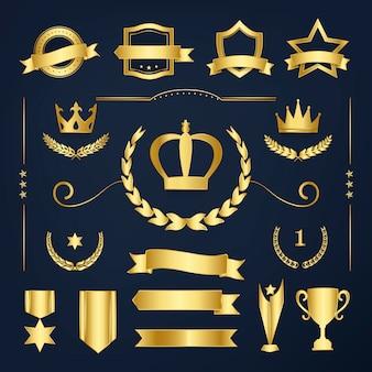 Vettori premium di badge di qualità e raccolta banner