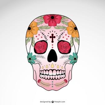 Vettoriale cranio illustrazione floreale
