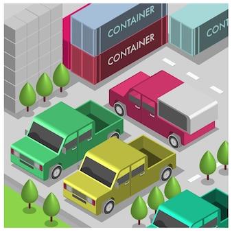 Vetture di illustrazione isometrica di vettore nel parcheggio