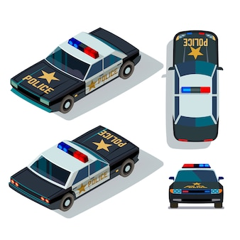 Vetture in stile piatto vettoriale in diverse viste. illustrazione di vista superiore e anteriore della pattuglia di trasporto della macchina di polizia isometrica