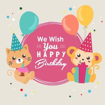Vi auguro buon compleanno con palloncino di gatto e scimmia