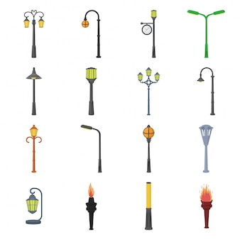 Via dell'icona stabilita del fumetto della lampada. icona stabilita del fumetto del lampione del parco. via della lampada.