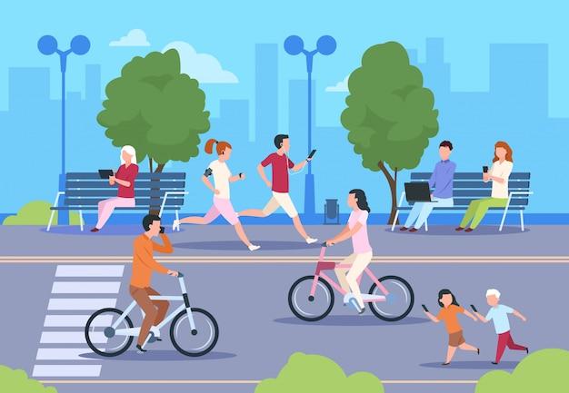 Via della gente di città piatta. uomo e donna di camminata di stile di vita urbano della passeggiata della bicicletta del paesaggio della natura del parco della città. sullo sfondo della città