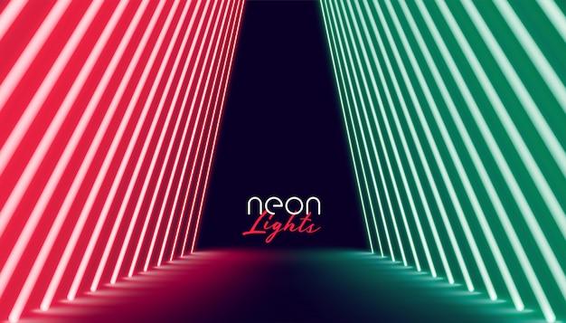 Via della luce al neon in colore rosso e verde