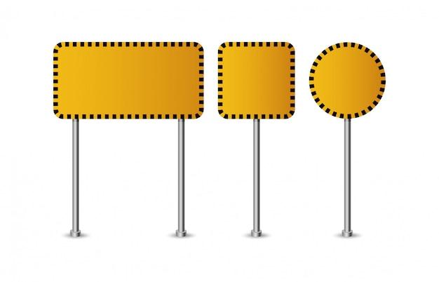 Via e segnali stradali arancio in bianco realistici isolati. insieme del segnale stradale, illustrazione di direzione del cartello stradale
