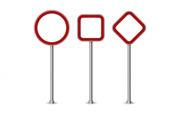 Via rossa in bianco realistica e segnali stradali isolati. insieme del segnale stradale, illustrazione di direzione del cartello stradale