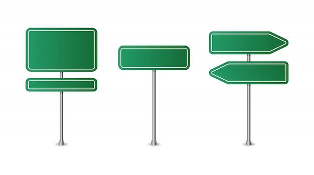 Via verde in bianco realistica e segnali stradali isolati. insieme del segnale stradale, illustrazione di direzione del cartello stradale