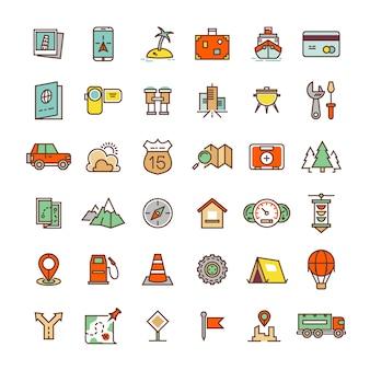 Viaggi, campeggio, raccolta di icone piane di posizione