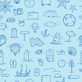 Viaggi disegnati a mano scarabocchi elementi