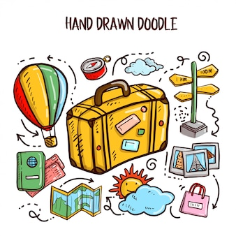 Viaggi doodles art. illustrazione vettoriale set