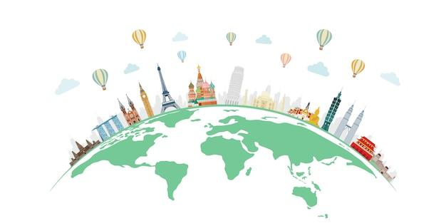 Viaggi e turismo con famosi monumenti del mondo sul globo