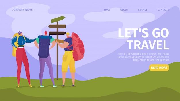 Viaggi ed escursioni per i turisti avventura nell'atterraggio del sito web della natura, illustrazione. viaggi, arrampicate, trekking, escursioni e passeggiate. persone viaggiatori con zaini, sport per le vacanze estive.