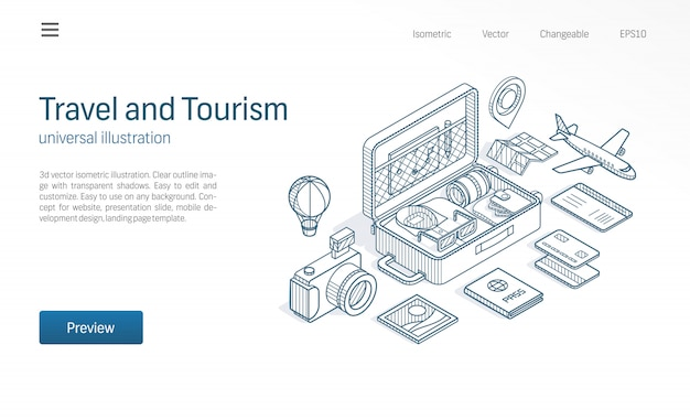 Viaggi, turismo moderno illustrazione al tratto isometrico. apra la valigia, la mappa di giro, le icone disegnate schizzo del biglietto di volo. concetto di avventura vacanza.