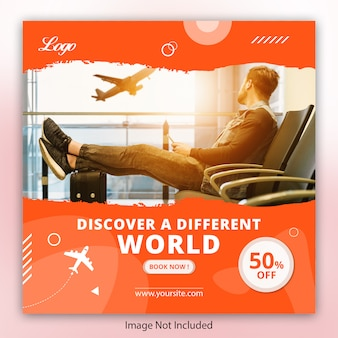 Viaggi viaggi instagram post, banner quadrato o modello di volantino
