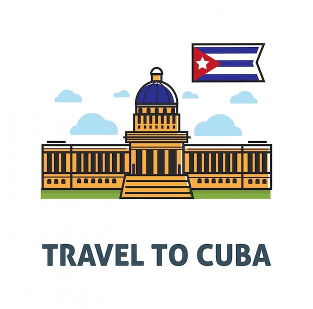 Viaggia a poster di cuba con la costruzione del campidoglio e la bandiera nazionale