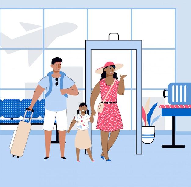 Viaggia con la famiglia con le persone in aeroporto, illustrazione di vettore del fumetto di schizzo.