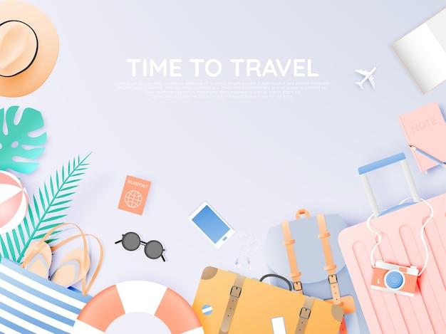 Viaggia con vari oggetti in stile carta
