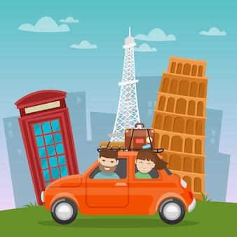 Viaggia in auto avventura europea con luoghi famosi dell'architettura