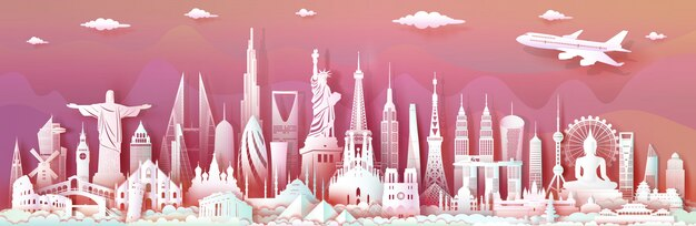 Viaggia in tutto il mondo con importanti monumenti architettonici importanti del mondo.