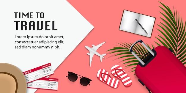 Viaggia infografica, tempo di viaggiare illustrazione con oggetti di viaggio su sfondo rosa