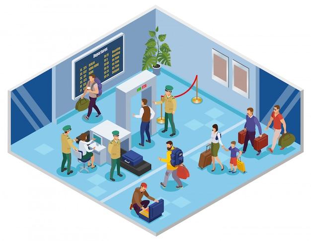 Viaggia isometrico con i passeggeri nel terminal dell'aeroporto passando la registrazione e l'ispezione di verifica preliminare
