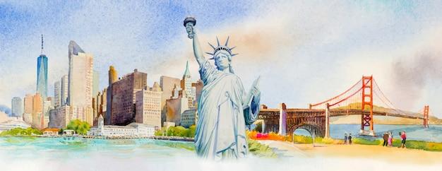 Viaggia manhattan urbano, statua liberty, golden gate bridge negli stati uniti.