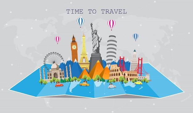 Viaggia nel mondo. viaggio su strada. grande set di monumenti famosi del mondo. tempo di viaggiare, turismo, vacanze estive.