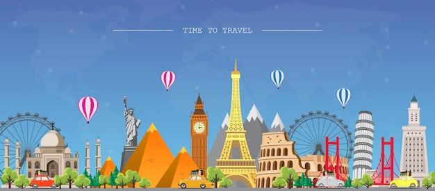 Viaggia nel mondo. viaggio su strada. grande set di monumenti famosi del mondo.