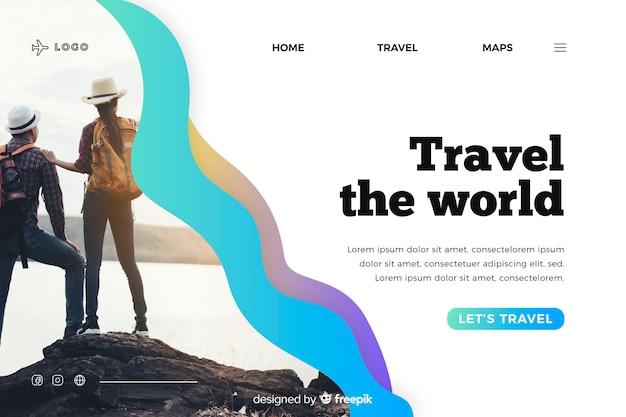 Viaggia sulla landing page del mondo con foto