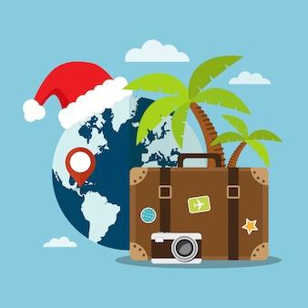 Viaggia sulla spiaggia di caribe durante le vacanze di natale