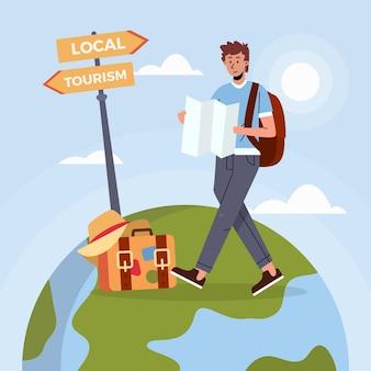 Viaggia uomo con mappa