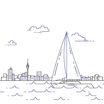 Viaggiando banner orizzontale con barca a vela sulle onde