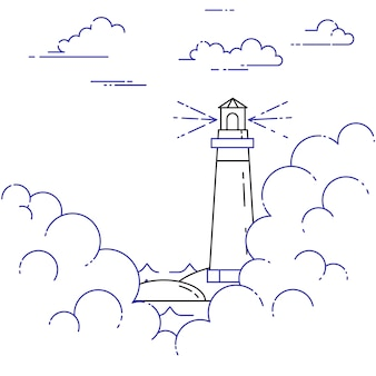 Viaggiando banner orizzontale con faro nella nebbia e nuvole. elementi artistici linea piatta. illustrazione vettoriale concetto per viaggio, turismo, agenzia di viaggi, hotel, vela, carta di ricreazione.