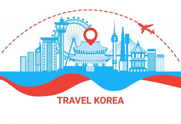 Viaggiare al manifesto della siluetta della corea del sud con il concetto coreano famoso della destinazione di viaggio dei punti di riferimento