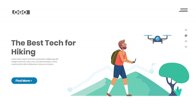 Viaggiare con un drone, escursionista