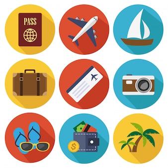 Viaggiare icone piatte nella collezione di set