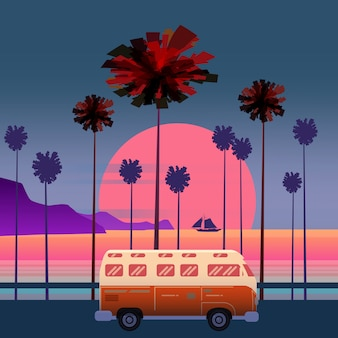 Viaggiare, illustrazione viaggio. tramonto, oceano, mare, paesaggio marino surf van bus sul palmo della strada