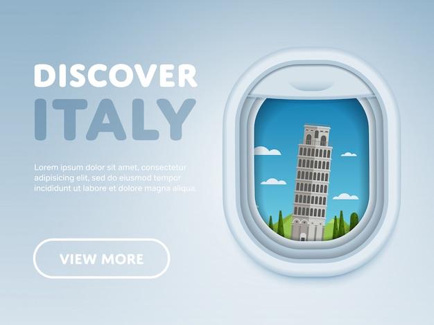 Viaggiare in aereo, luoghi d'interesse nella finestra,