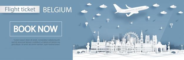 Viaggiare in belgio modello di biglietto aereo.
