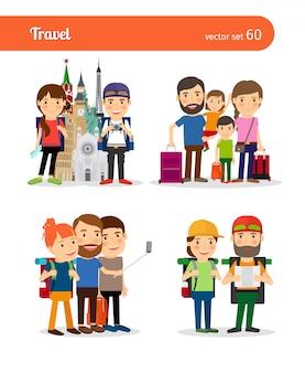 Viaggiare in famiglia e viaggiare coppia vettoriale persone