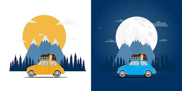 Viaggiare in macchina. viaggio su strada. tempo di viaggio, turismo, vacanze estive, giorno e notte.