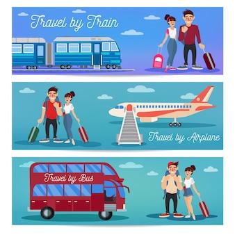 Viaggiare in treno, aereo e autobus. coppia felice con il bagaglio.