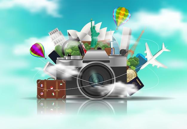 Viaggiare in tutto il mondo, fotocamera con elementi